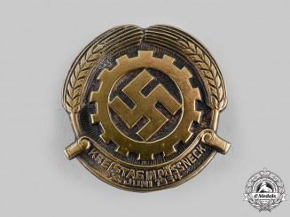 Germany, DAF. A 1934 German Labour Front (DAF) Pössneck Regional Day Badge