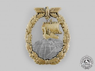 Germany, Kriegsmarine. An Auxiliary Cruiser War Badge by C.E. Juncker