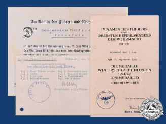 Germany, Wehrmacht. Award Documents to Karl Friess, II Landungs-Pionier-Werftbataillon