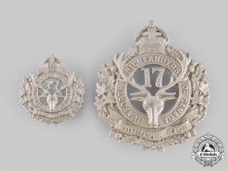 Canada, CEF. A 17th Infantry Battalion Glengarry & Collar Badges, c.1915