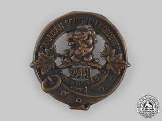 Canada, CEF. A 241st Infantry Battalion Officer's Glengarry Badge, by Ellis Bros, c.1917