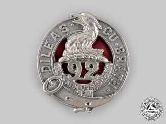"Canada, CEF. A 92nd Infantry Battalion ""48th Highlanders"" Glengarry Badge, by Ellis Bros, c.1915"