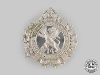 Canada, CEF. A 14th Reserve Infantry Battalion of Winnipeg, Manitoba Cap Badge