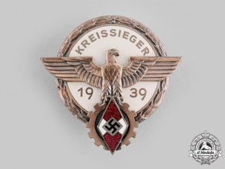 Germany, HJ. A 1939 Regional Trade Competition Victor's Badge by Hermann Aurich