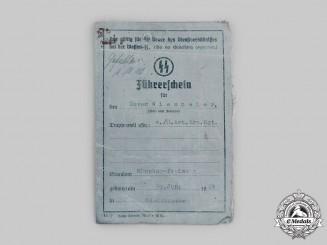 Germany, SS. A Waffen-SS Driver's License to Xaver Wiesmeier, 4th SS Ersatz Artillery Regiment