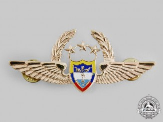 Colombia. Republic. An Air Force Pilot Badge with Three Stars and Wreath (General Officer)