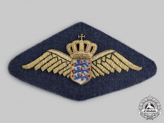 Denmark, Kingdom. A Royal Danish Air Force Pilot Badge Blazer Patch