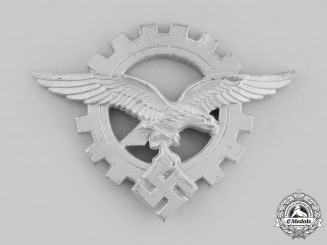Germany, Luftwaffe. A Civilian Technician's Officer's Cap Insignia