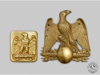 France, II Republic. A Crimean War Era French Army Sappers Helmet Plate and Infantry of the Line Belt Buckle