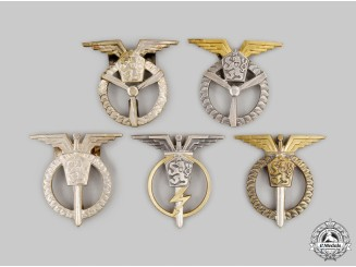 Czechoslovakia, Socialist Republic. Five Czechoslovak Air Force Badges