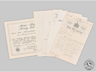 Germany, Imperial. A Collection of Award Documents to Bavarian Royal Civil Servant März