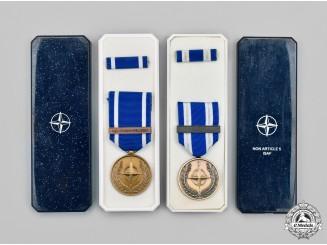 International. Two North Atlantic Treaty Organization (NATO) Medals, Cased