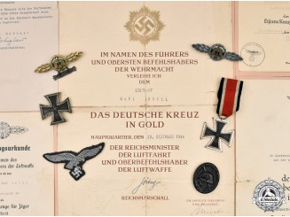 Germany, Luftwaffe. The Awards and Documents of Leutnant Karl Brill, Luftwaffe Fighter Ace
