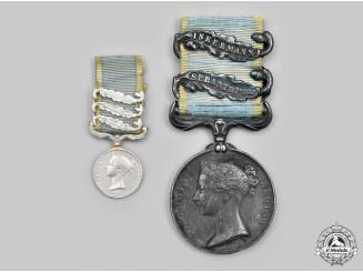 United Kingdom. A Crimea Medal 1854-1856, Fullsize and Miniature