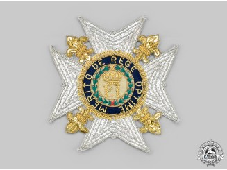 Italy, Kingdom of the Two Sicilies. A Royal Order of Francis I Embroidered Breast Badge, Modern Issue c. 1975