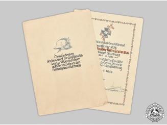 Germany, SA. A Heldentod Document to SA-Obertruppführer Gustav Ritter von Grubenthal, Crimea KIA