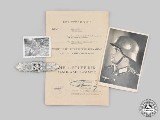 Germany, Heer. A Silver Grade Close Combat Clasp with Award Document and Photos, to Ernst Langscheidt