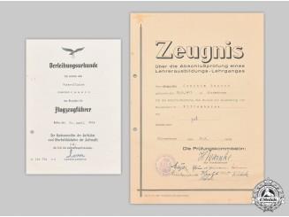 Germany, Luftwaffe. A Pilot's Badge Award Document, with Teaching Certification, to Unteroffizier Joachim Raasch
