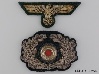 Coastal Artillery Officers Visor Wreath and Cap Eagle