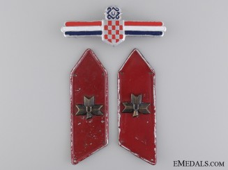 Croatian Defence Force Leader's Badge and Collar Tab Pair