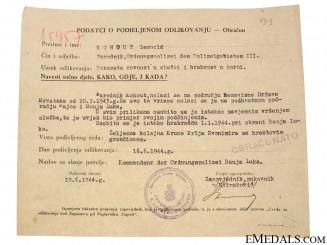 Croatian WWII Original Document
