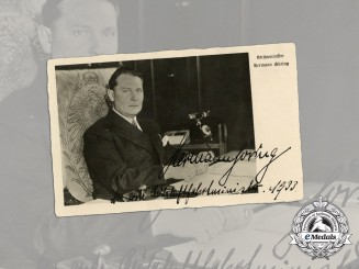 An Early 1933 Signed Picture Postcard of First Minister of Aviation Hermann Göring