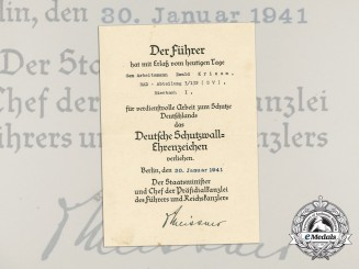 An Award Document for a West Wall Medal to Ewald Krisam; RAD Abteilung 3/132