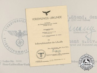 A 1944 Award Document for a Luftwaffe Ground Assault Badge to Gerhard Kunick