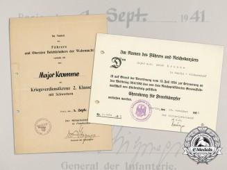 Two Award Documents to Major Kramme; Signed by General der Infanterie von Stülpnagel