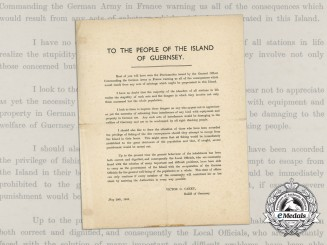 A Rare 1941 Letter to the People of Guernsey; Behaviour during the German Occupation