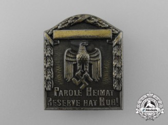 """A Third Reich Period """"Our Motto is Homeland"""" Badge"""