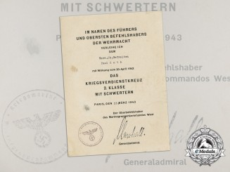 A Kriegsmarine Document for War Merit Cross 2nd Class Signed by PLM Recipient