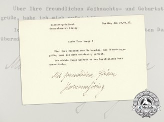 A Thank You Letter for Christmas & Birthday Greetings Signed by Hermann Göring