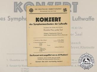 A 1941 Strength Through Joy Luftwaffe Orchestra Concert Flyer