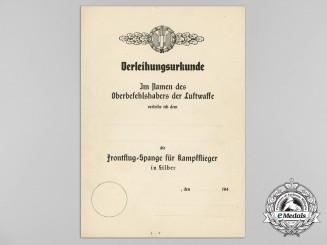 An Unissued Award Document for the Silver Grade Bomber Clasp