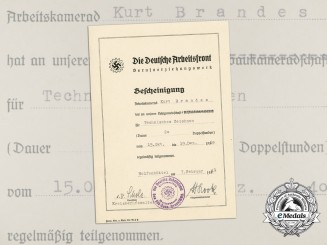 A 1941 Participation Certificate from the German Labour Front