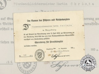 A Hindenburg Cross Award Document Issued by the Augsburg Police