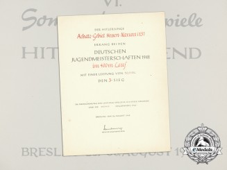 A 1942 HJ  Summer Competition Games in Breslau Award Document