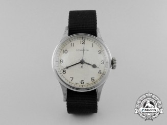 A Second War Royal Air Force (RAF) British Broad Arrow Marked Longines Pilot's Wrist Watch