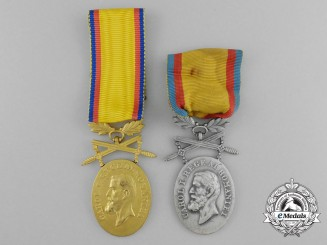 Two Romanian Medals for Manhood and Loyalty 1916-1947 Issue