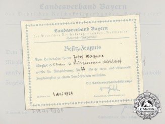 An Award Document for 25 Years of Membership of the Kyffäuser Veteran's Association of Mühldorf