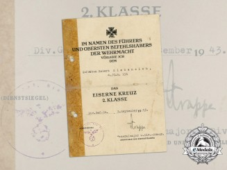 An Award Document for an Iron Cross 1939 Second Class to 4th Grenadier Regiment 151