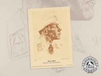 A Print of Fighter Ace & KC Recipient Issued by Association for German Culture