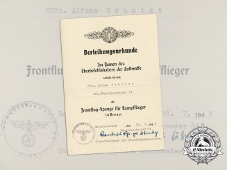 A Bomber Squadron Clasp Award Document to KC & Oakleaves Recipient Alfons Schmidt