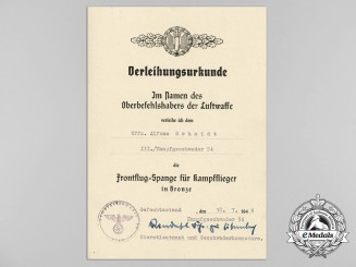 Germany, Luftwaffe. A Bomber Squadron Clasp Document to KC & Oakleaves Recipient Alfons Schmidt