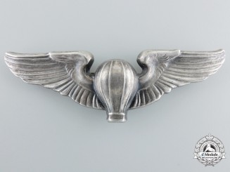 A Rare United States Balloon Corps Silver Pilot Badge by Jostens