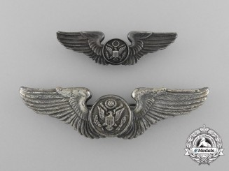 A Set of Second War Army Air Force Air Crew Badges; Fullsize and Reduced Size