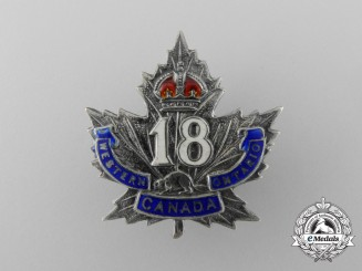 A First War 18th Infantry Canadian Battalion Sweetheart Badge
