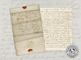 An 1809 Letter From Royal Marine Thomas Harding; H.M.S. Dannemark,