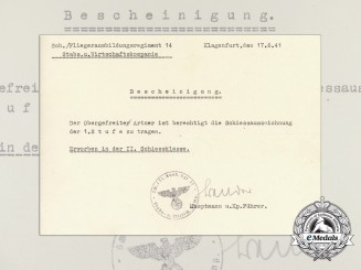 A 1941 Luftwaffe Flyerschool Tier One Shooting Award Document